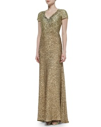 Pamella Roland Cap Sleeve Allover Beaded Gown Burnished Gold