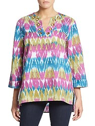 August Silk Ikat Print Linen And Cotton Tunic Top Ikat Wave