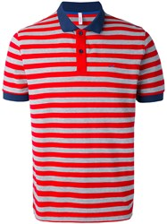 Sun 68 Striped Polo Shirt Men Cotton Spandex Elastane L Red