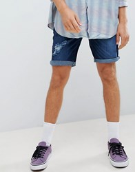 Your Turn Yourturn Denim Shorts In Blue With Rips