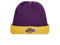 The Elder Statesman X Nba Men's Los Angeles Lakers Logo Cashmere Watchman's Cap Purple