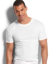 Hanes Platinum Men's Underwear Slim Fit Crew Neck T Shirt 5 Pack White