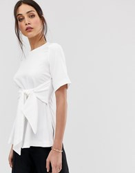 Closet London Wrap Front Top In White