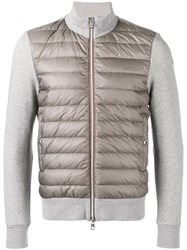 Moncler Contrast Sleeve Quilted Jacket Men Cotton Polyamide S Grey