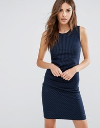 Y.A.S Penno Dress In Pinstripe Navy