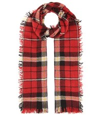 Isabel Marant Loria Wool And Silk Plaid Scarf Red