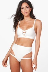 Boohoo Boutique Bandage Cut Out Bikini White