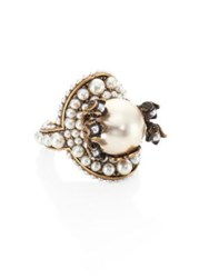 Gucci Faux Pearl Flower Ring Gold Pearl