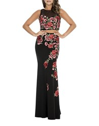 Decode 1.8 Two Piece Embroidered Blouse And Skirt Set Black Red