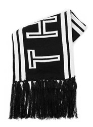 Topman Black And White Now And Then Slogan Knitted Scarf