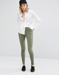 Dr. Denim Dr Lexy High Waist Skinny Trousers Olive Green