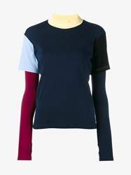 Jacquemus Double Layer T Shirt With Long Sleeves Navy Sky Blue Yellow Red White