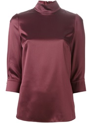 Dolce And Gabbana High Collar Blouse Pink And Purple