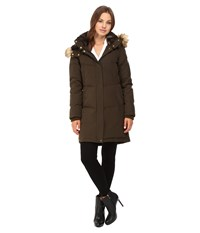 Vince Camuto Faux Fur Trim And Lined Hooded Down Removable Hood L1011 Olive Women's Coat