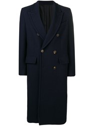 Ami Alexandre Mattiussi Paris Patched Pockets Double Breasted Long Lined Coat Blue