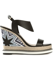 Nicholas Kirkwood Star Print Wedge Sandals Black