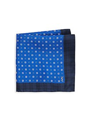 Yves Saint Laurent Printed Pocket Square Navy