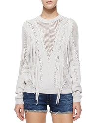 Torn By Ronny Kobo Mesh Knit Fringe Sweater Bone Ivory