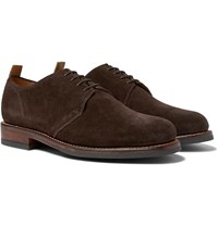 Grenson Wade Suede Derby Shoes Brown
