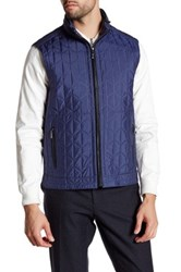 Bugatchi Quilted Stowable Hood Vest Blue