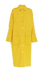 Tibi Snap Button Trench Coat Yellow