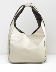 Asos Slouch Shoulder Bag With Tie Detail Pale Grey