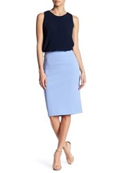 Catherine Malandrino Exposed Zipper Slim Skirt Blue