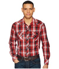 Rock And Roll Cowboy Plaid Long Sleeve Snap B2s5718 Red Long Sleeve Button Up