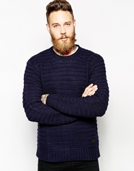 Lee Crew Knit Jumper Chunky Textured Navy