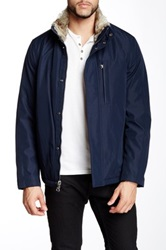 Andrew Marc New York Kips Bay City Rain Jacket With Faux Fur Collar Blue