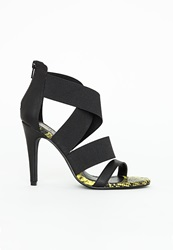 Missguided Crossover Elastic Strap Heeled Sandals Reptile Print Black