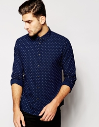 Esprit Shirt With All Over Cross Print Navy