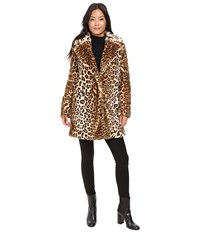 Calvin Klein Faux Fur With Button Closure Leopard Women's Coat Animal Print