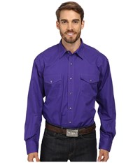 Roper L S Solid Basic Snap Front Purple Long Sleeve Button Up