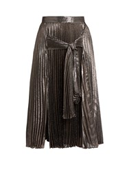 Christopher Kane Tie Front Pleated Lame Midi Skirt Pink Multi