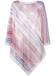 Missoni Chevron Knit Poncho Women Cotton Viscose One Size Pink Purple