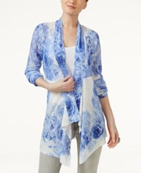 Inc International Concepts Floral Print Cardigan Only At Macy's Sail Blue