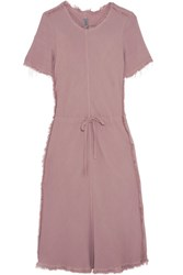 Raquel Allegra Frayed Textured Crepe Dress Lavender