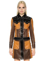 Drome Cropped And Studded Leather Biker Jacket