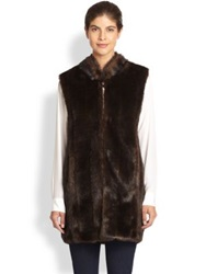 Donna Salyers Fabulous Furs Everywhere Faux Fur Vest Black Mink