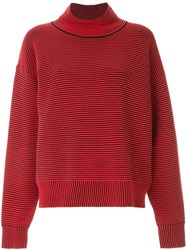 Nagnata Ribbed Knit Turtleneck Jumper Red