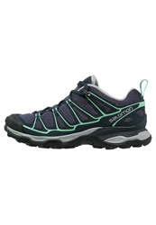 Salomon X Ultra Prime Hiking Shoes Artist Grey Deep Blue Lucite Green