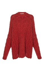Ryan Roche Oversized Cable Knit Pullover Red