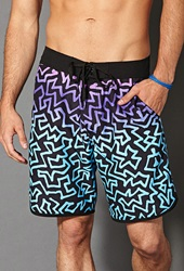 Forever 21 Abstract Ombre Swim Trunks Black Purple