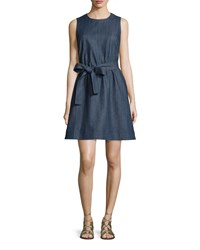 Kate Spade Tie Waist Denim Fit And Flare Dress Women's