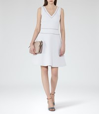 Reiss Nelly Womens Textured Fit And Flare Dress In Grey