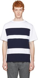 Marni White And Navy Wide Stripes T Shirt