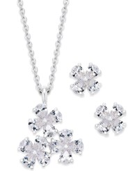 Charter Club Silver Tone Cubic Zirconia Flower Pendant Necklace And Stud Earrings Set Only At Macy's