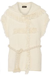 Isabel Marant Elma Fringed Cotton And Linen Blend Hooded Gilet White