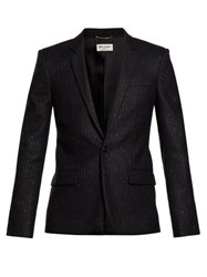 Saint Laurent Metallic Pinstripe Single Breasted Blazer Black Silver